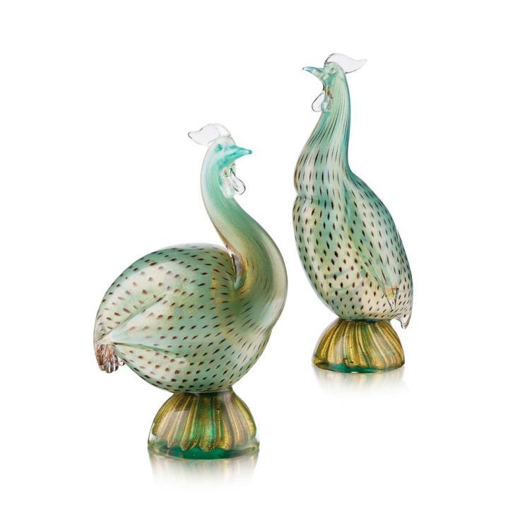 § ARCHIMEDE SEGUSO (1909-1999) PAIR OF MURANO GLASS BIRDS 'COPPIA DI FARAONE', MID 20TH CENTURY 28cm and 25cm high