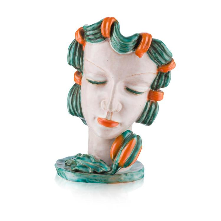 RUDOLF KNÖRLEIN (1902-1988) FOR GOLDSCHIEDER GLAZED TERRACOTTA BUST OF EVA, CIRCA 1931 24cm high
