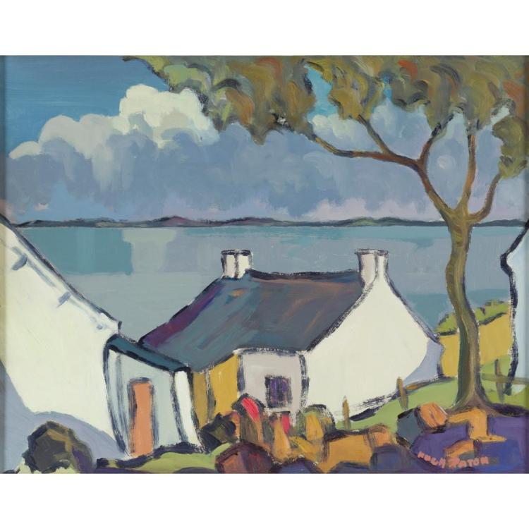 HUGH PATON (SCOTTISH 1853-1927) COTTAGE BY THE SEA 31cm x 40cm (12.25in x 15.5in)