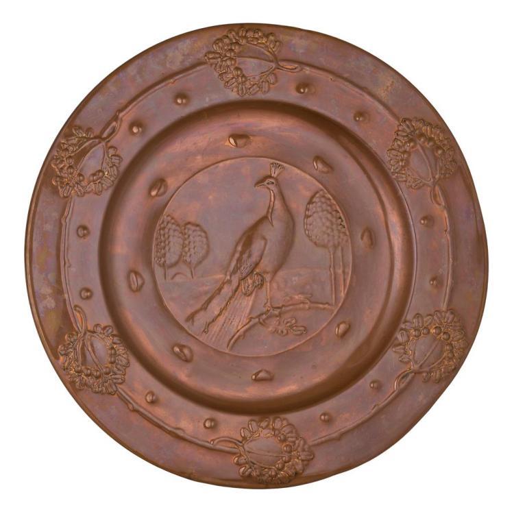 BERT HARVEY FOR FAULKNER BRONZE CO. ARTS & CRAFTS CIRCULAR COPPER WALL CHARGER, CIRCA 1900 57.5cm diameter