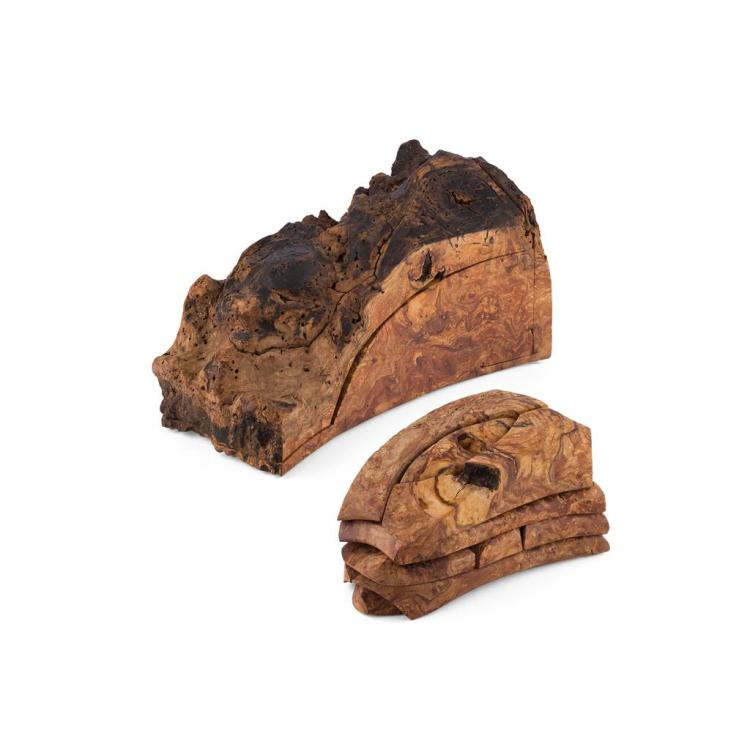 TIM STEAD (1952-2000) 'SLEEPER'S PAIN', A BURR ELM PUZZLE/ENIGMA, DATED 1997 37cm across, 16.5cm high, 22cm deep