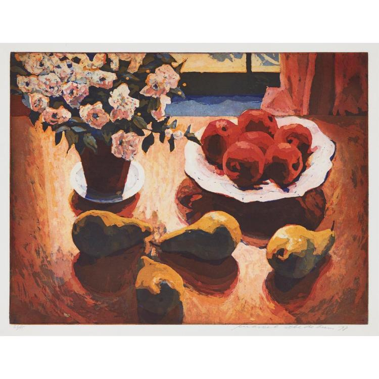 [§] § MARCEL SCHELLEKENS (DUTCH B.1954) FLOWERS & FRUIT 53cm x 68cm (20.75in x 26.75in)
