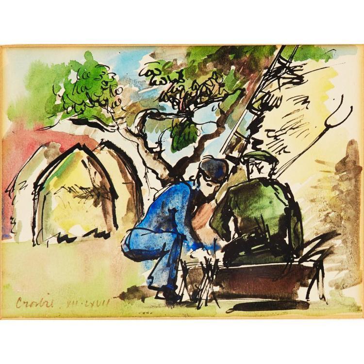 § WILLIAM CROSBIE R.S.A. (SCOTTISH 1915-1999) THE GARDENERS 13.5cm x 18cm (5.5in x 7in)