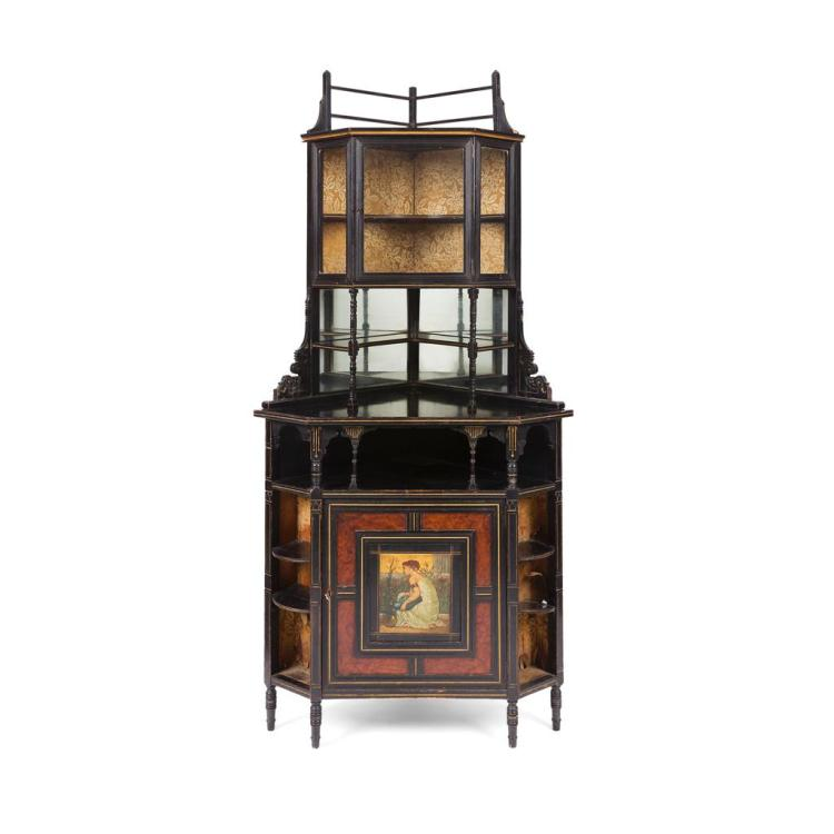 ATTRIBUTED TO DANIEL COTTIER AESTHETIC MOVEMENT EBONISED CORNER CABINET, CIRCA 1870 92cm wide, 191cm high, 56cm deep