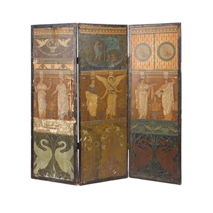 WALTER CRANE (1845-1915) AESTHETIC MOVEMENT THREE-FOLD DRAUGHT SCREEN, CIRCA 1890 174cm wide, 170cm high