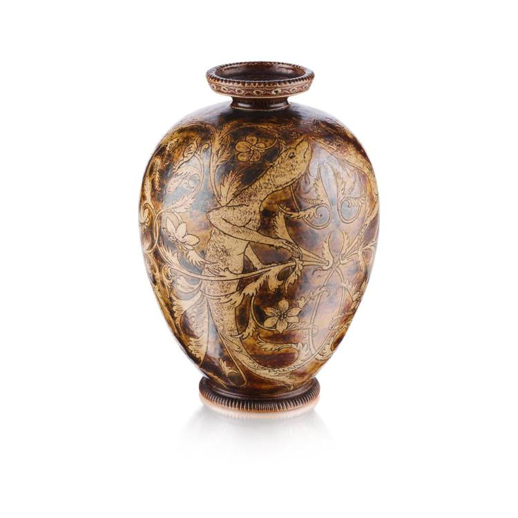 MARTIN BROTHERS STONEWARE VASE, DATED 1889 22cm high