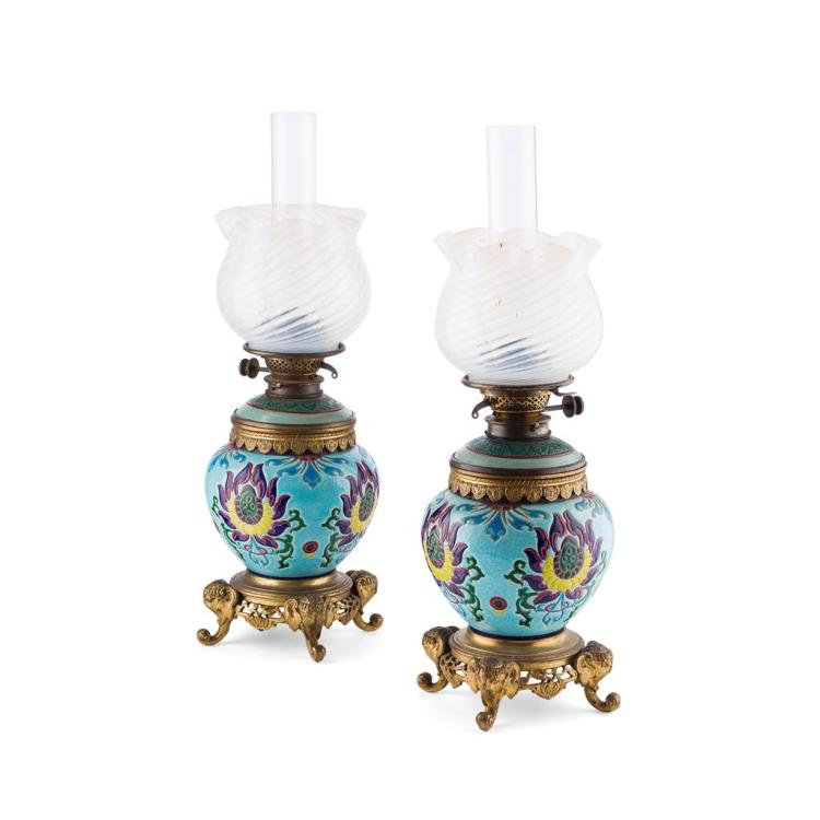 LONGWY, FRANCE PAIR OF GILT BRONZE MOUNTED CERAMIC LAMPS, CIRCA 1890 59.5cm high