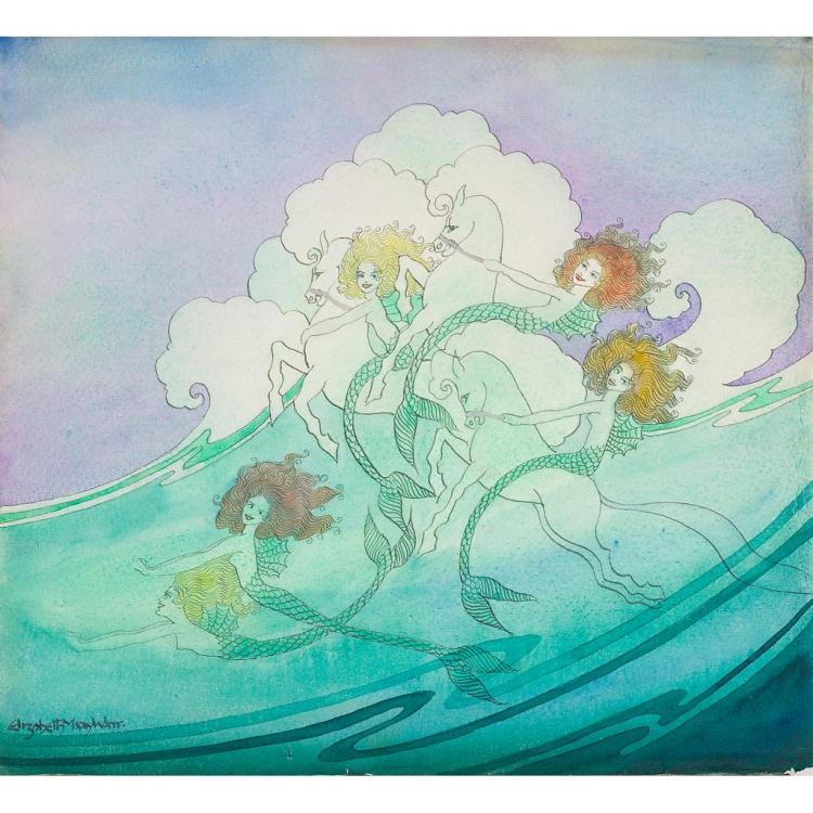 § ELIZABETH MARY WATT (1886-1954) RIDING THE WHITE HORSES 31cm x 34cm