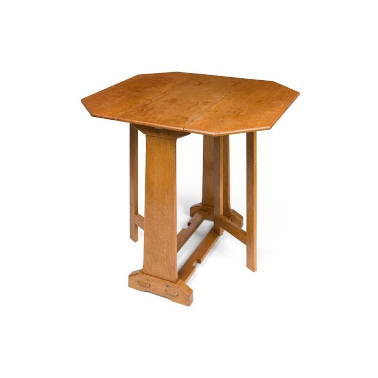 COTSWOLDS SCHOOL DROP LEAF OCCASIONAL TABLE, CIRCA 1920 87cm wide, 76cm high, 76cm deep