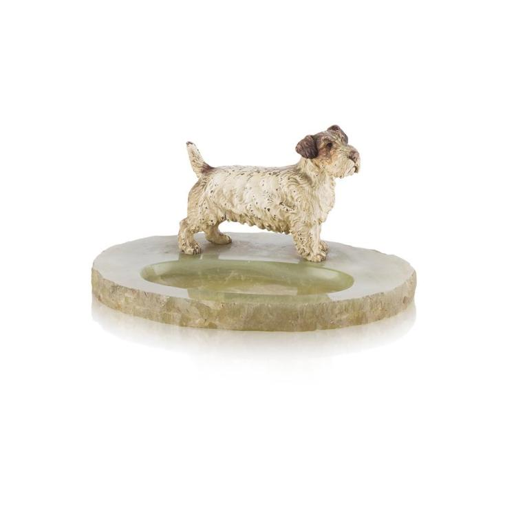 AUSTRIAN SCHOOL COLD PAINTED BRONZE FIGURE OF A TERRIER, EARLY 20TH CENTURY 25cm across, 13cm high