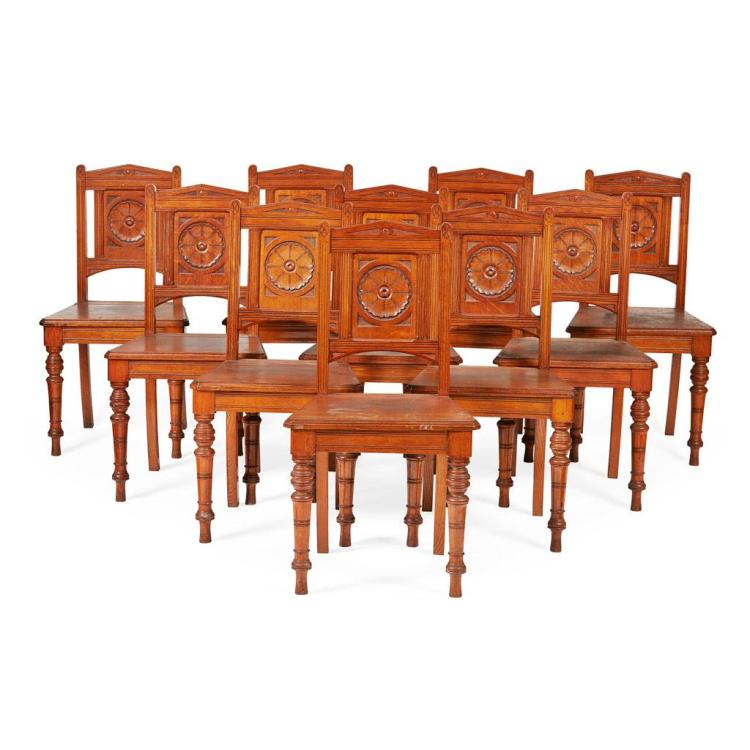 AESTHETIC MOVEMENT SET OF TEN OAK HALL CHAIRS, CIRCA 1890 47cm wide, 93cm high, 39cm deep