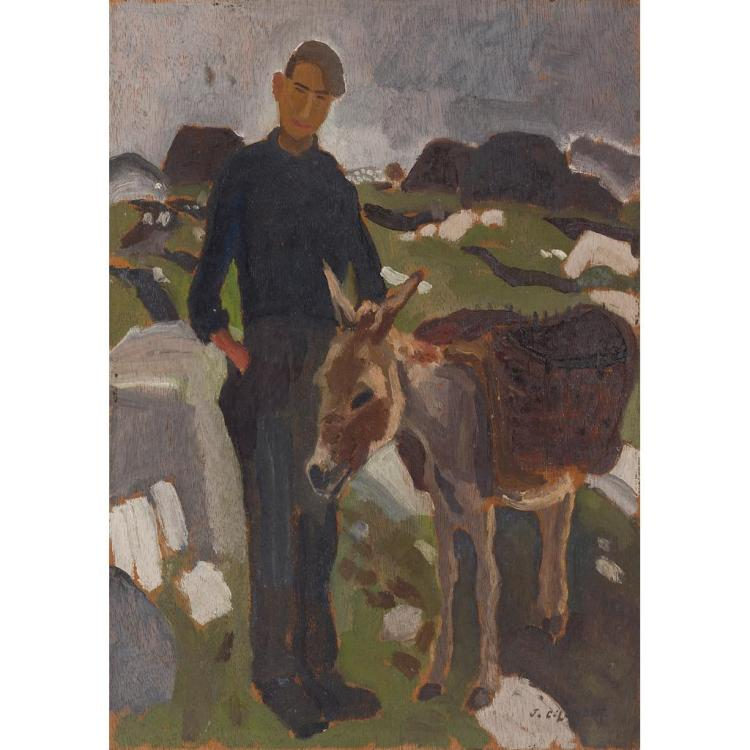 * § JOHN C. LAMONT A.R.S.A. (SCOTTISH 1894-1948) DONEGAL YOUTH AND DONKEY 43cm x 30.5cm (17in x 12in)