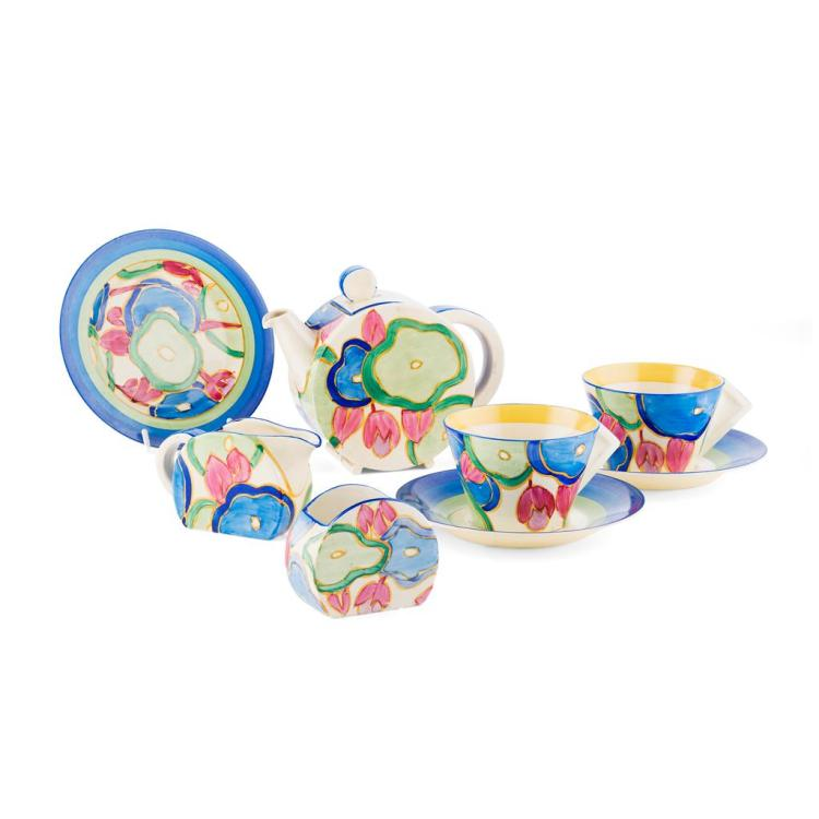 CLARICE CLIFF (1899-1972) 'BLUE CHINTZ' PATTERN BON JOUR BREAKFAST SET, CIRCA 1930