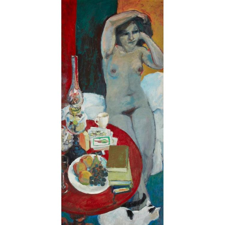 [§] WILLIAM SENIOR (SCOTTISH B. 1927) READING THE TAROT CARDS 119.5cm x 53.5cm (47in x 21in)