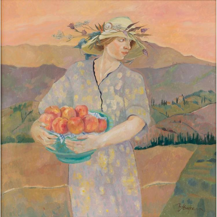 § BRENDA LENAGHAN R.S.W. (SCOTTISH B.1941) GIRL WITH PEACHES, TUSCANY 75cm x 75cm (29.5in x 29.5in)