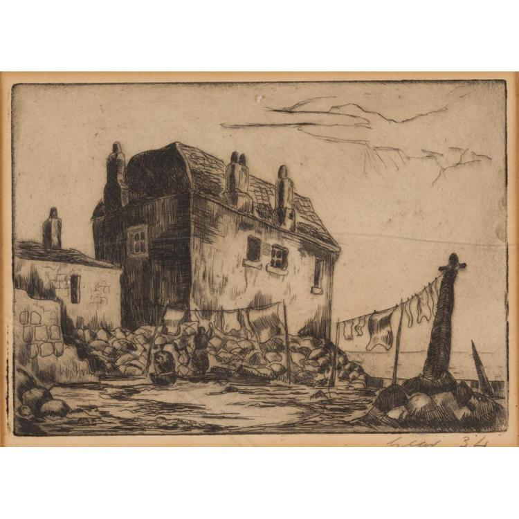 § WILLIAM GEAR R.A., F.R.S.A., R.B.S.A. (SCOTTISH 1915-1997) OLD BUCKHAVEN 15.5cm x 21cm (6in x 8.25in) and a further 2 etchings by...
