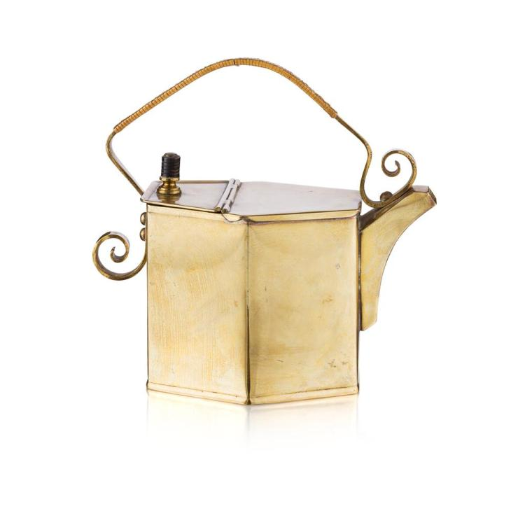 ATTRIBUTED TO CHRISTOPHER DRESSER FOR BENHAM & FROUD BRASS HOT WATERING CAN, CIRCA 1885 22cm high