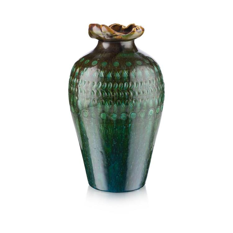 CHRISTOPHER DRESSER FOR LINTHORPE POTTERY GLAZED EARTHENWARE VASE, CIRCA 1880 27.5cm high