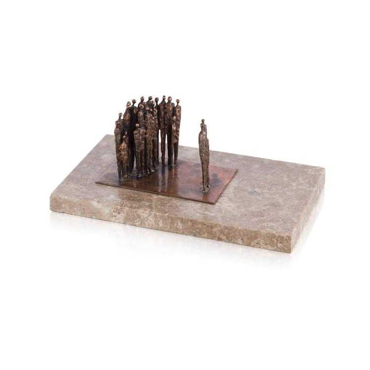 § RONALD POPE (1920-1997) 'TWO GROUPS' bronze, 8cm high, plinth 25cm x 2cm x 15cm