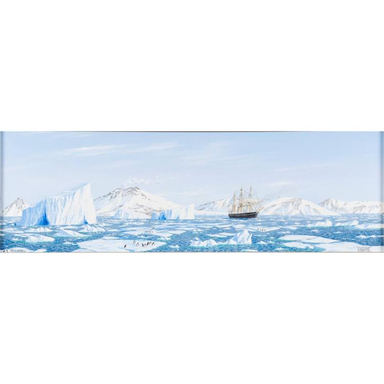 GEORGE R. CUMMINGS (SCOTTISH CONTEMPORARY) 'R.R.S. DISCOVERY' OF CAPE EVANS ANTARTIC WITH EREBUS 37cm x 117.5cm (14.5in x 46.25in)