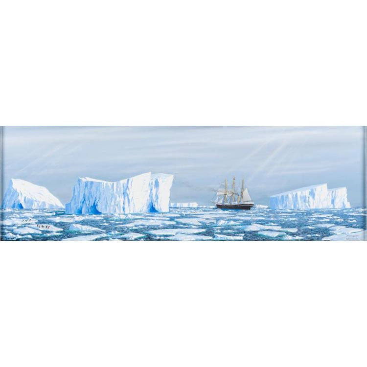 GEORGE R. CUMMINGS (SCOTTISH CONTEMPORARY) SHACKLETON'S SHIP 'ENDURANCE' ENTERING PACK ICE IN THE WEDDELL SEA, 37cm x 117cm (14.5in.
