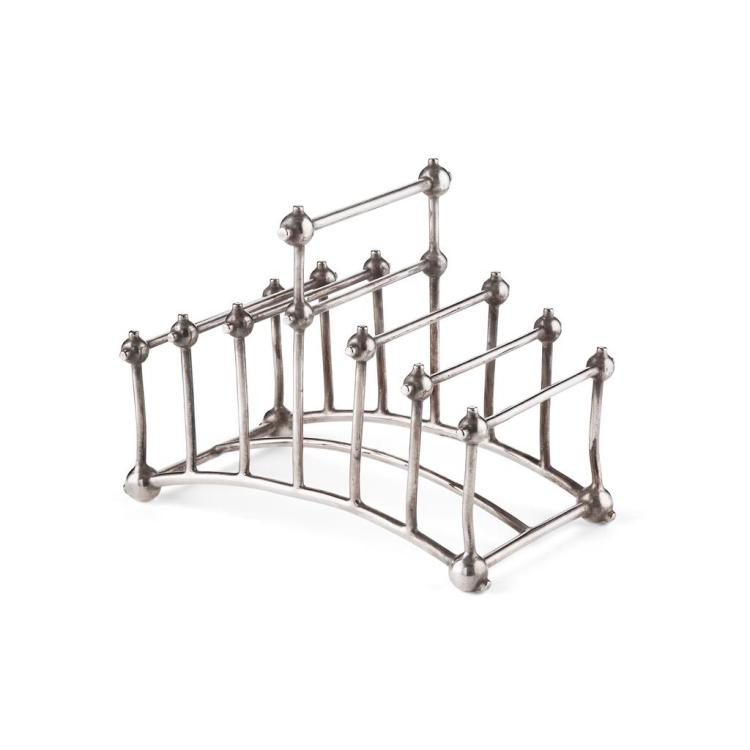 CHRISTOPHER DRESSER (1834-1904) FOR HUKIN & HEATH, LONDON RARE ELECTROPLATED TOAST RACK, CIRCA 1880 15cm wide, 12cm high