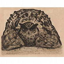 § PAUL JOUVE (1878-1973) LIMITED EDITION LITHOGRAPH DEPICTING AN OWL, CIRCA 1920