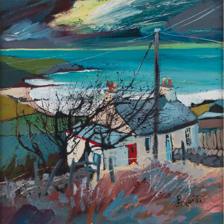 § PAM CARTER (SCOTTISH CONTEMPORARY) STORM DUNES 34cm x 34cm (13.5in x 13.5in)