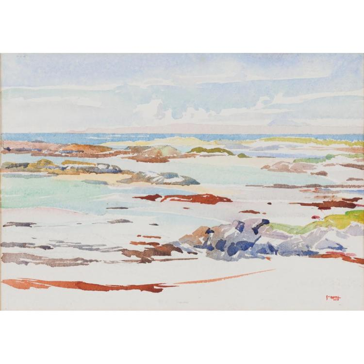 § MARY HOLDEN BIRD (SCOTTISH D.1978) EARLY MORNING - FEBRUARY 1968 25.5cm x 35.5cm (10in x 14in)