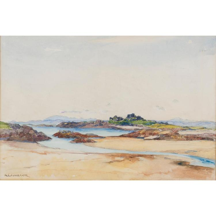 § KATE CAMERON R.E., R.S.W. (SCOTTISH 1874-1965) TRAIGH SHORE, WITH DISTANT SKYE 24cm x 35.5cm (9.5in x 14in)