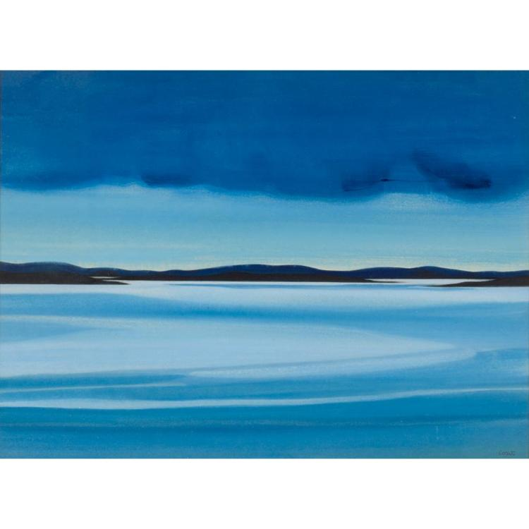 § BET LOW (SCOTTISH 1924-2007) EVENING ON THE FLOW 36cm x 48.5cm (14in x 19in)