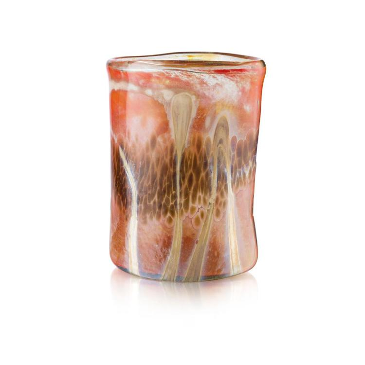 SAM HERMAN (B. 1936) OVAL SECTION LUSTRE GLASS VASE, DATED 1974 24.5cm high