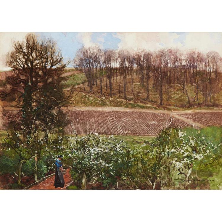 § GEORGE HOUSTON R.S.A., R.S.W., R.I. (SCOTTISH 1869-1947) SPRING IN AYRSHIRE 24.5cm x 35cm (9.75in x 13.75in)