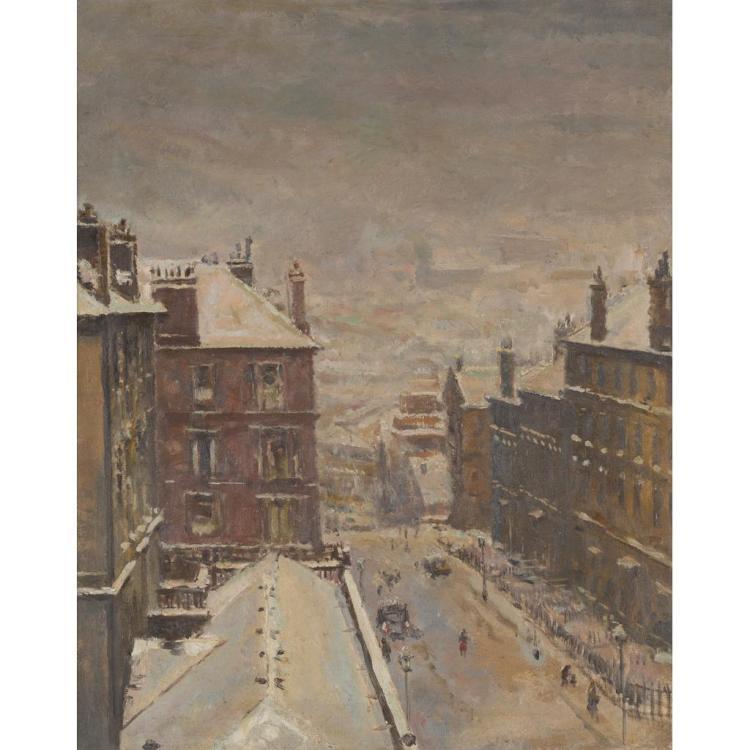 § GEOFFREY SQUIRE (BRITISH 1923-2012) DALHOUSIE STREET, GLASGOW 74.5cm x 59.5cm (29.25in x 23.25in)
