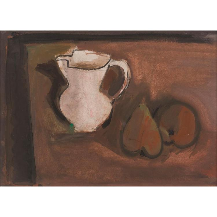 DAVID MCCLURE R.S.A., R.S.W., R.G.I. (SCOTTISH 1926-1998) STILL-LIFE: JUG AND PEAR 22.5cm x 31.5cm (8.75in x 12.5in)