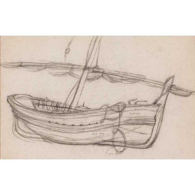 DAVID MCCLURE R.S.A., R.S.W., R.G.I. (SCOTTISH 1926-1998) FISHING BOAT 31.5cm x 49.5cm (12.5in x 19.5in)