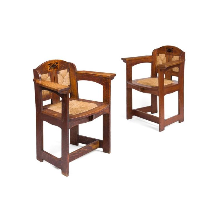 E.G. PUNNETT FOR WILLIAM BIRCH, HIGH WYCOMBE PAIR OF INLAID OAK ARMCHAIRS, CIRCA 1901 72cm wide, 86cm high, 50cm deep