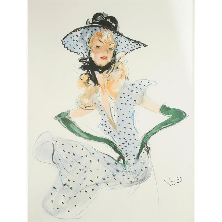 § JEAN-GABRIEL DOMERGUE (1889-1962) PORTRAIT OF A LADY 82cm x 67cm