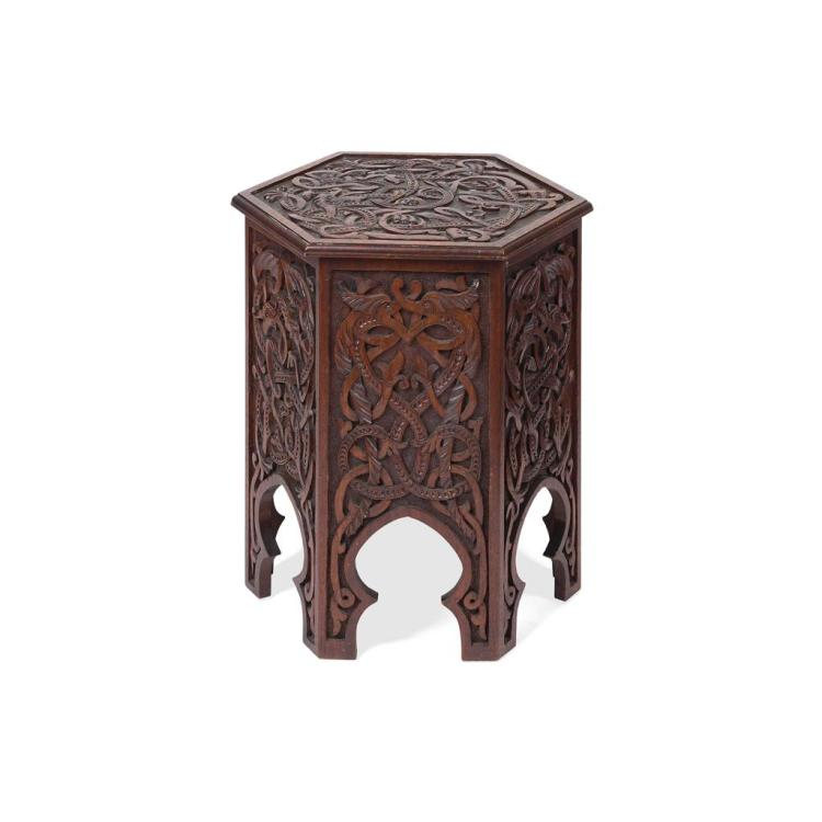 CELTIC REVIVAL HEXAGONAL SECTION OAK OCCASIONAL TABLE, EARLY 20TH CENTURY 44cm wide, 50cm high, 39cm deep