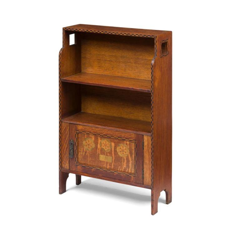 MANNER OF M. H. BAILLIE SCOTT, FOR SHAPLAND & PETTER, BARNSTAPLE INLAID OAK BOOKCASE CABINET, CIRCA 1900 51cm wide, 82cm high, 18cm...