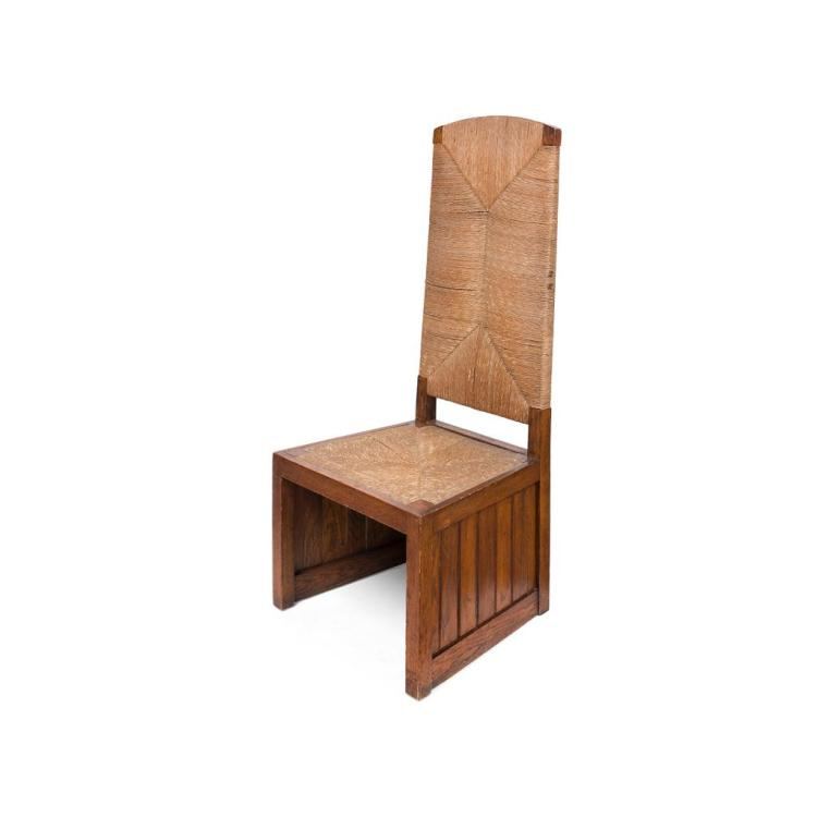 ARTS & CRAFTS OAK AND RUSH-UPHOLSTERED CHAIR, CIRCA 1910 61cm wide, 139cm high, 55cm deep