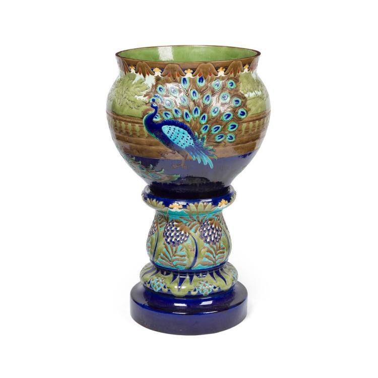 BURMANTOFTS FAIENCE MONUMENTAL JARDINIÈRE AND STAND, CIRCA 1910 55cm diameter, 104cm high