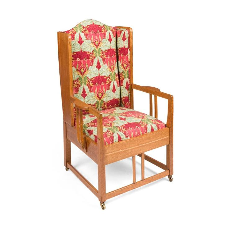 ARTS & CRAFTS OAK FRAMED WING ARMCHAIR, CIRCA 1900 68cm wide, 115cm high, 58cm deep