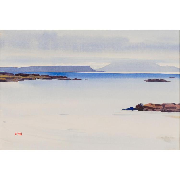 § MARY HOLDEN BIRD (SCOTTISH D.1978) SEA CLOUDS 24cm x 35.5cm (9.5in x 14in)