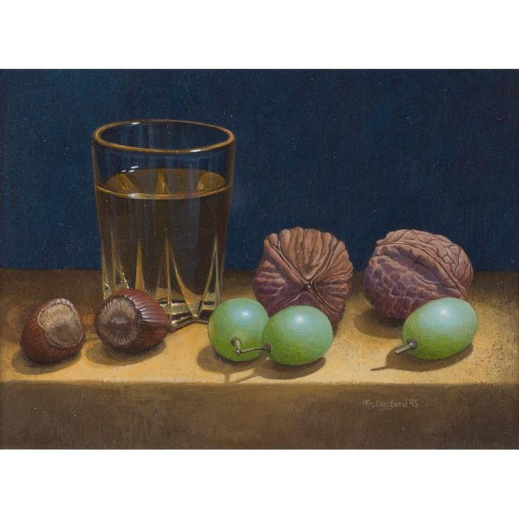 [§] § TIM GUSTARD (BRITISH B.1954) STILL LIFE WITH WHISKEY, GRAPES AND WALNUTS 9.5cm x 12.5cm (3.75in x 5in)