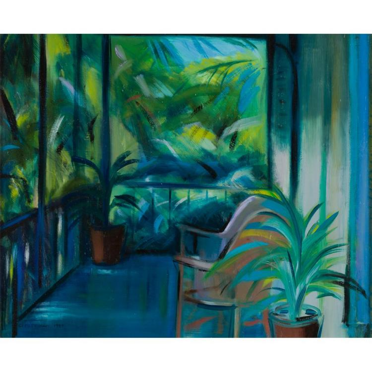 [§] IRENE LESLEY MAIN (SCOTTISH B. 1959) HEMINGWAY'S BALCONY, KEY WEST 46.5cm x 56.5cm (18.25in x 22.25in)