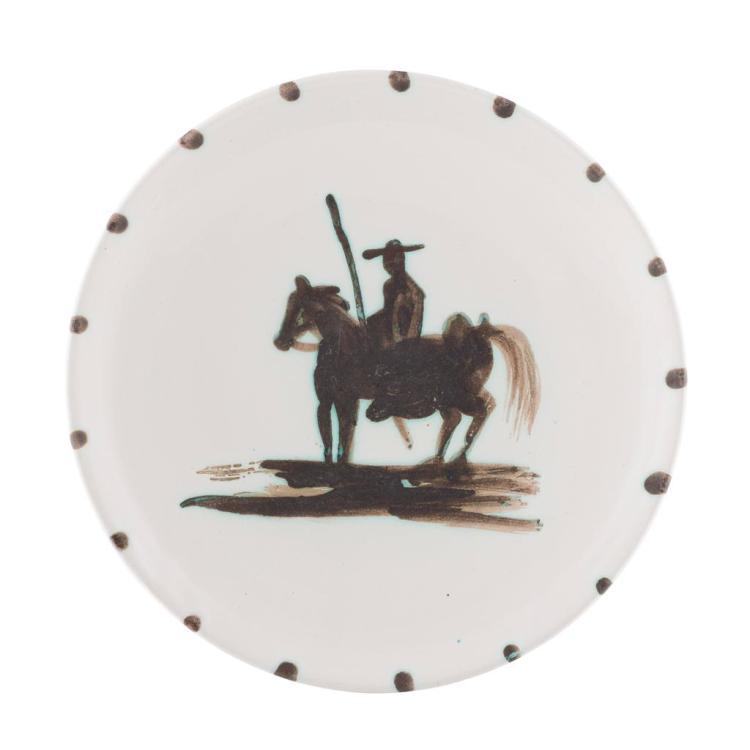 § PABLO PICASSO (1881-1973) 'PICADOR' CERAMIC PLATE, CONCEIVED 1952 20cm diameter