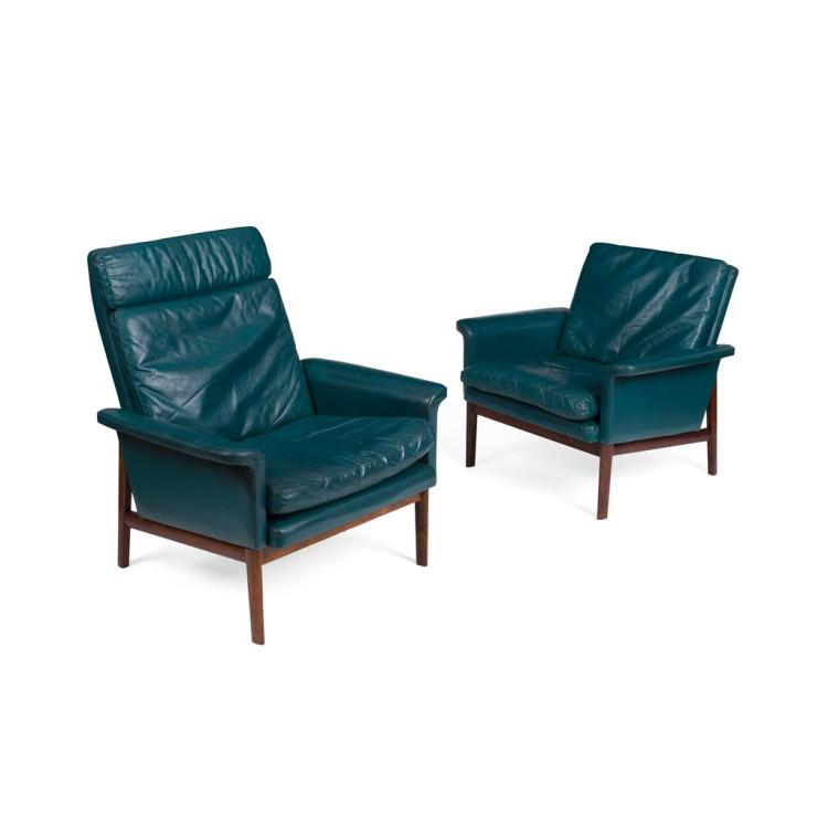 FINN JUHL (1912-1989) FOR FRANCE & SON, DENMARK PAIR OF 'JUPITER' ARMCHAIRS, NO. 218, DESIGNED 1965