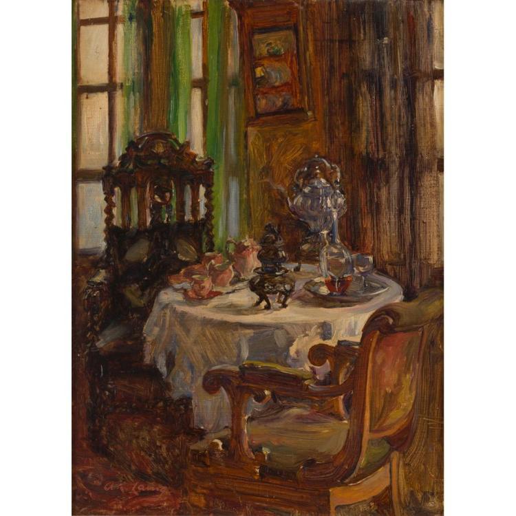 ANNIE ROSE LAING (SCOTTISH 1869-1946) INTERIOR 38cm x 28cm (15in x 11in)