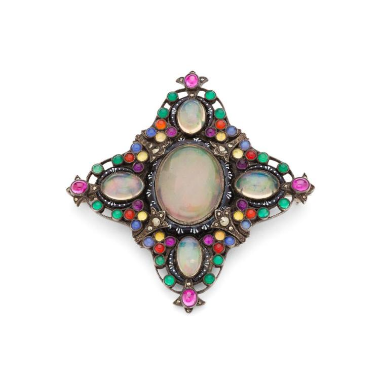 SIBYL DUNLOP (1889-1968) ARTS & CRAFTS BROOCH, CIRCA 1920 6.3cm across